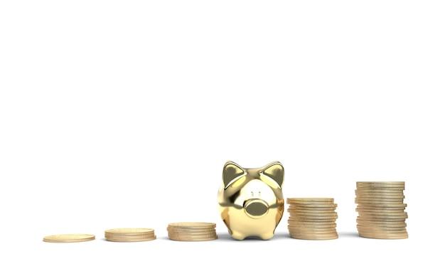 Koncepcja inwestycji finansowych z piggy bank i złote monety. renderowanie 3d.