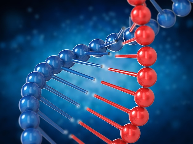 Koncepcja inżynierii genetycznej z renderowaniem 3d helisy dna i częścią dna