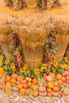 Koncepcja jesień z sezonowymi owocami i warzywami. jesienne tło sezonowych warzyw na siano. zdjęcie pionowe