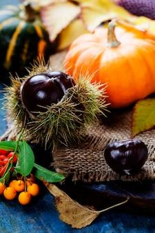 Koncepcja jesień z sezonowymi owocami i warzywami na desce