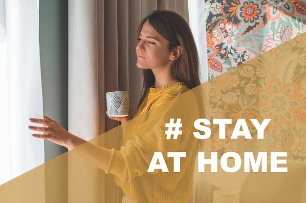 Koncepcja kampania zostań w domu w mediach społecznościowych na rzecz zapobiegania koronawirusowi