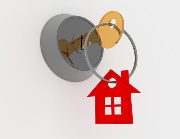 Koncepcja klucza 3d domu
