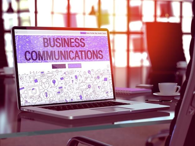 Koncepcja komunikacji biznesowej - zbliżenie na stronę docelową ekranu laptopa w nowoczesnym biurze pracy. stonowany obraz z selektywną ostrością. renderowanie 3d.