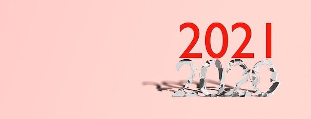 Koncepcja koniec 2020 początek 2021 na niebieskim tle, baner, kopia przestrzeń