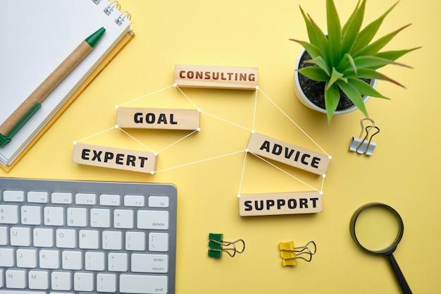 Koncepcja konsultingowa - drewniane klocki z napisami cel, ekspert, doradztwo, wsparcie.