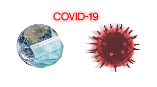 Koncepcja koronawirusa grypy covid-19 rendering 3d. ziemia z maską na twarz chroni świat medyczny. (obraz elementu świata autorstwa nasa)