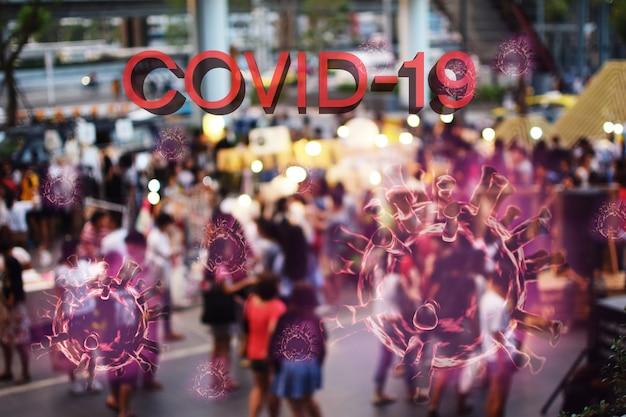 Koncepcja koronawirusy grypy covid-19 na czerwonym tle.