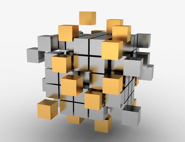 Koncepcja kostki pracy zespołowej. ilustracja 3d
