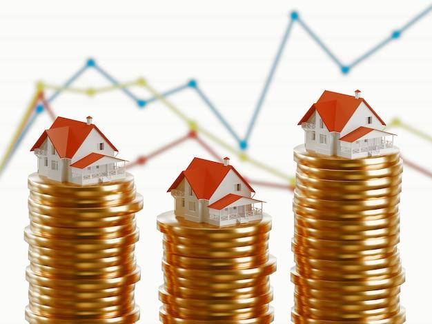 Koncepcja kredytu hipotecznego przez dom pieniądze z monet. renderowanie 3d.