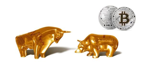 Koncepcja Kryptowaluty. Trendy W Kursach Wymiany Bitcoinów. Wzrost I Upadek Bitcoina. Premium Zdjęcia