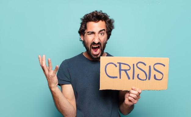 Koncepcja kryzysu młody brodaty mężczyzna