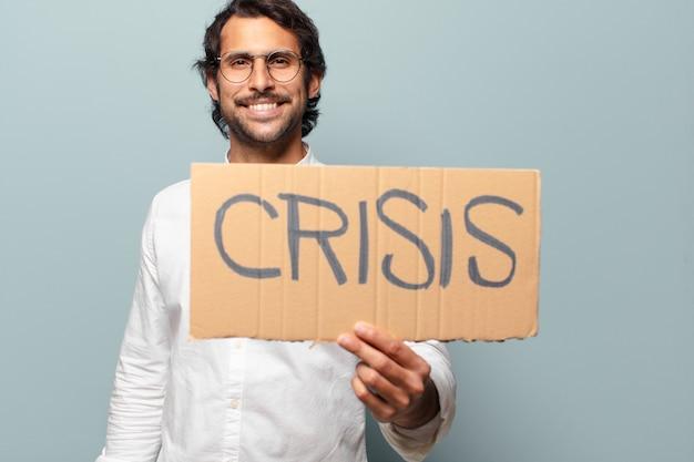 Koncepcja kryzysu młody przystojny indyjski mężczyzna