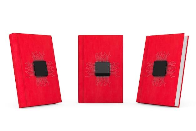 Koncepcja książki cyfrowej. mikrochipy z obwodem nad czerwonymi księgami na białym tle