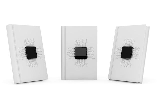 Koncepcja książki cyfrowej. mikrochipy z obwodem nad pustymi książkami na białym tle