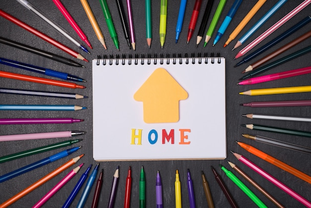 Koncepcja kształcenia w domu. pojęcie dystansu społecznego. widok z góry na zdjęcie długopisów i ołówków wokół pustego notatnika z notatką w kształcie domu na białym tle na tablicy