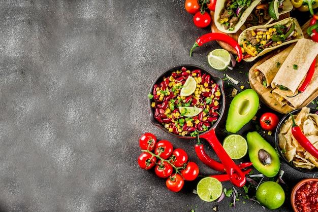 Koncepcja kuchni meksykańskiej. jedzenie cinco de mayo.