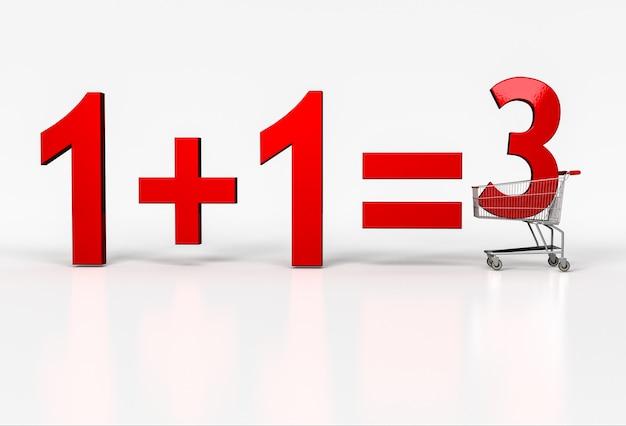 Koncepcja kupna dwóch. dostać się za darmo. duży czerwony znak 1+1=3 w koszyku na białym. renderowania 3d