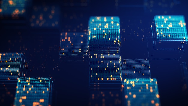 Koncepcja łańcucha bloków. big data kod binarny futurystyczna technologia informacyjna, przepływ danych. przenoszenie dużych zbiorów danych. połączone bloki danych przedstawiające blockchain kryptowaluty. renderowanie 3d.