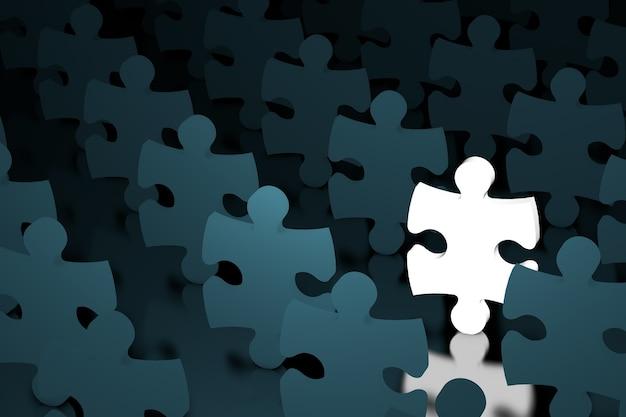 Koncepcja lidera. jedna świecąca układanka w tłumie zwykłych puzzli ekstremalnego zbliżenia. renderowanie 3d
