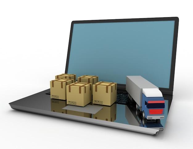 Koncepcja Logistyczna 3d. Ciężarówka I Laptop. Ilustracja 3d Premium Zdjęcia