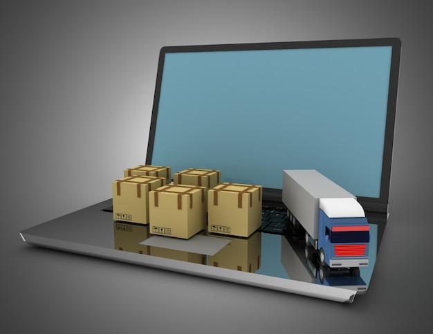 Koncepcja logistyczna 3d. ciężarówka i laptop. ilustracja 3d