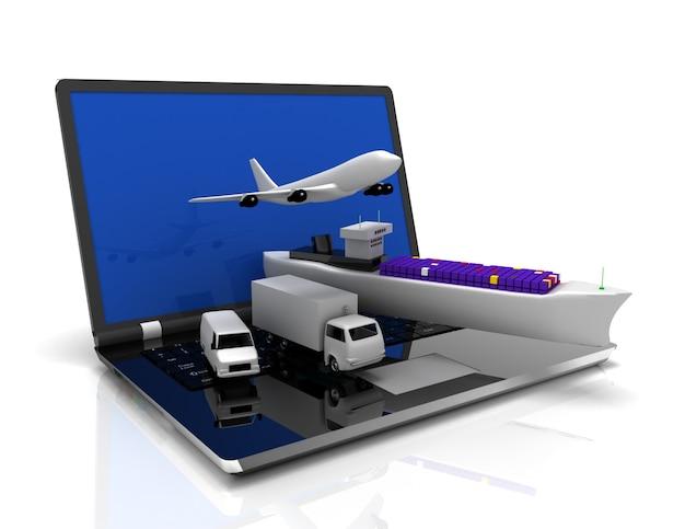 Koncepcja logistyki. laptop, samolot, statek, ciężarówka. 3d renderowana ilustracja