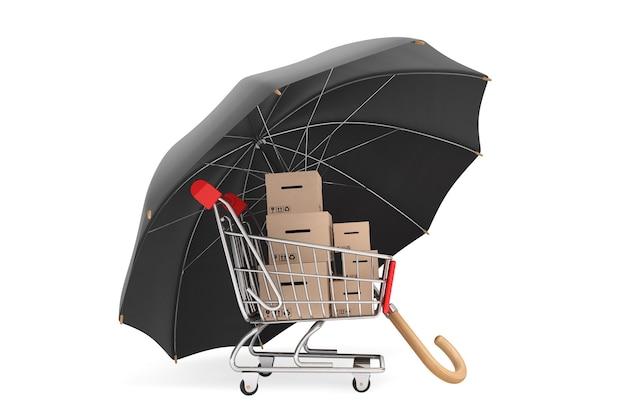 Koncepcja logistyki. wózek na zakupy z pudełkami chronionymi parasolem na białym tle