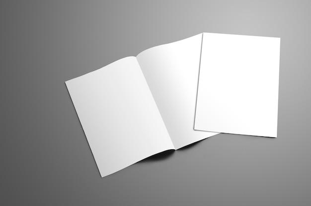 Koncepcja makieta z dwoma pustymi broszurami a4, (a5) bi-fold z miękkimi cieniami na białym tle na szarym tle. jedna broszura jest zamknięta i leży otwarta na rozkładówce. szablon może służyć do projektowania.