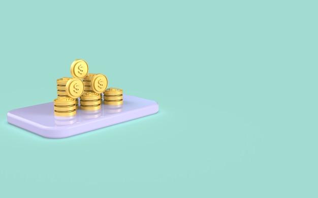 Koncepcja marketingu cyfrowego monety mediów społecznościowych wyświetlacz renderowania 3d