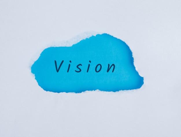 Koncepcja marketingu ze słowem wizji, płaskie lay.
