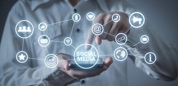 Koncepcja mediów społecznościowych. biznes. internet. technologia