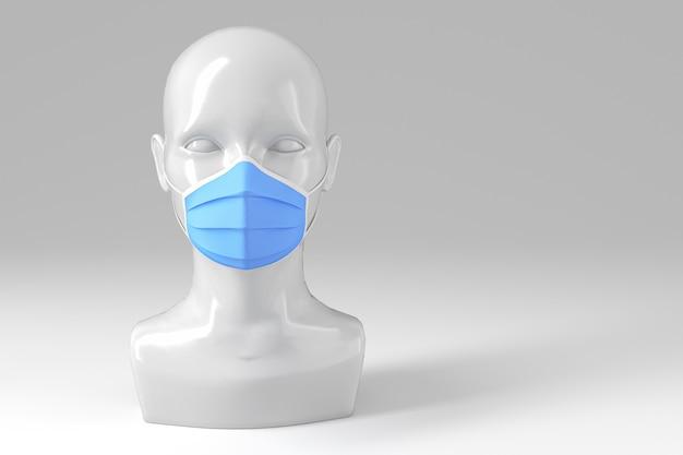 Koncepcja medyczna. błyszcząca modna głowa kobiety w medycznej masce na jasnym tle.