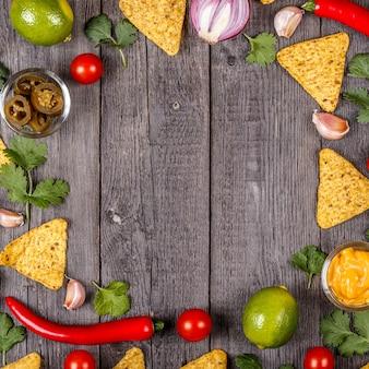 Koncepcja meksykańskiego jedzenia kopii przestrzeni widok z góry