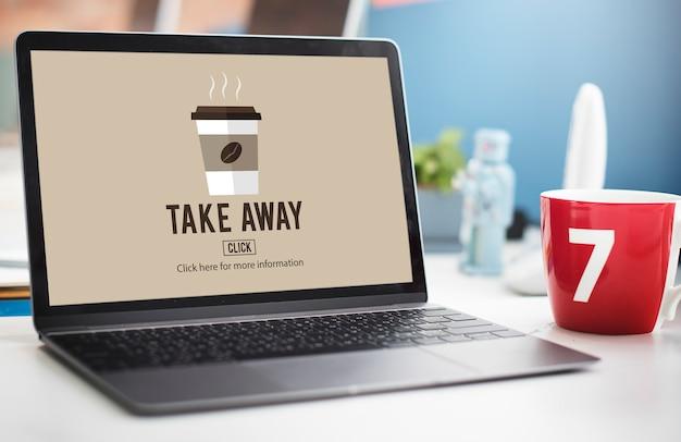 Koncepcja menu dostawy kawy na wynos online