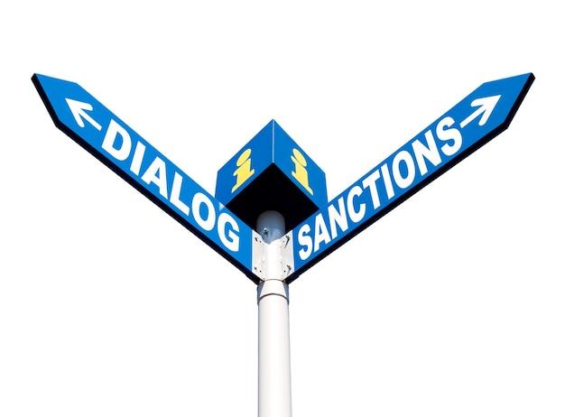 Koncepcja metafory politycznej. waymark z napisem dialog i sankcje na białym tle