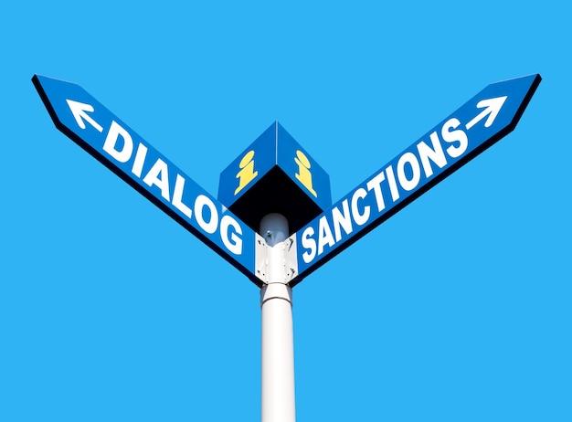 Koncepcja metafory politycznej. waymark z napisem dialog i sankcje na niebieskim tle