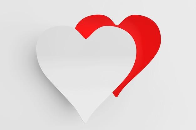 Koncepcja miłości. serce wycięte z papieru jako naklejka