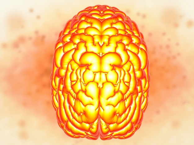 Koncepcja mocy mózgu z renderowaniem 3d błyszczącego ludzkiego mózgu