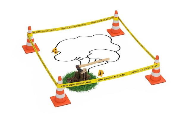 Koncepcja morderstwa drzew. żółta taśma nie przekracza linii policji z szyszkami drogowymi, zarysem martwego drzewa i pnia z siekierą na białym tle. renderowanie 3d