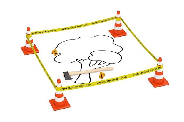 Koncepcja morderstwa drzew. żółta taśma nie przekracza linii policji z szyszkami drogowymi, zarysem martwego drzewa i siekierą na białym tle. renderowanie 3d