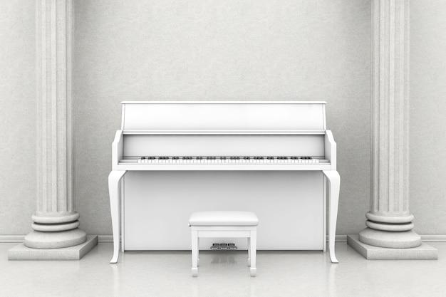 Koncepcja muzyki. klasyczna sala muzyczna z białym fortepianem