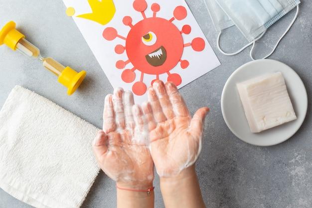 Koncepcja mycia rąk w celu zapobiegania wirusowi korony covid-19