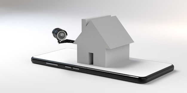 Koncepcja nadzoru wideo w domu smartfona. ilustracja 3d. transparent. skopiuj miejsce. aplikacja.