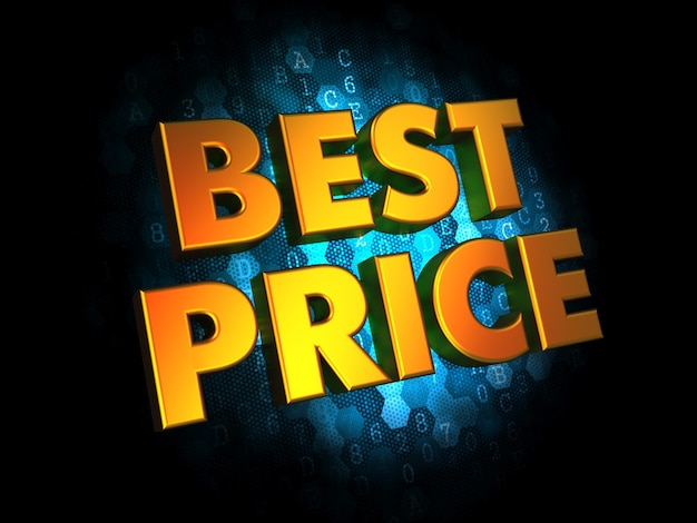 Koncepcja najlepszej ceny - złoty kolor tekstu na ciemnoniebieskim cyfrowym.