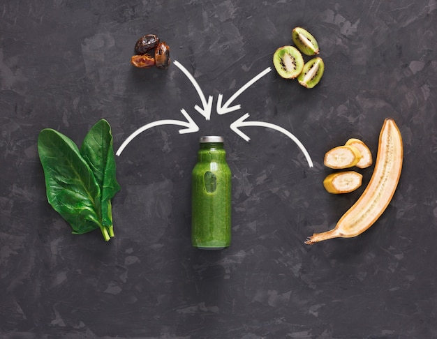 Koncepcja napoju oczyszczającego detoks, składniki zielonego koktajlu warzywnego. naturalny, ekologiczny zdrowy sok w butelce do diety odchudzającej lub na czczo. mieszanka kiwi, bananów i szpinaku, płasko układana na czarno