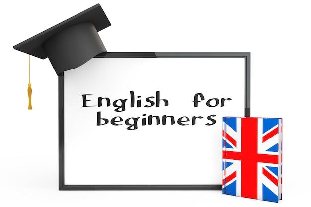 Koncepcja nauki języka angielskiego. czapka, tablica i podręcznik do gramatyki angielskiej na białym tle