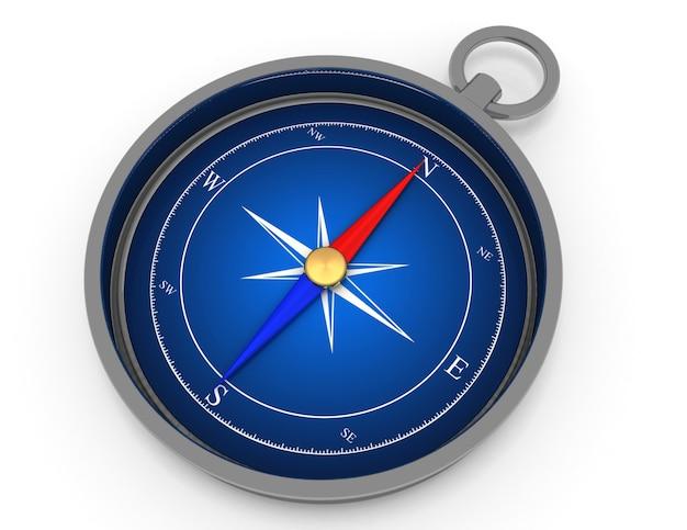 Koncepcja niebieski kompas metalowy. 3d renderowana ilustracja