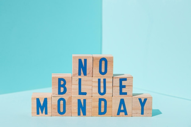 Koncepcja niebieski poniedziałek z kostkami