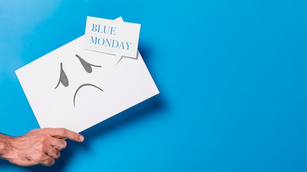 Koncepcja niebieski poniedziałek z miejsca na kopię