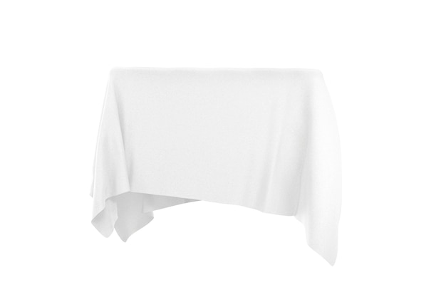 Koncepcja niespodzianki, nagrody lub nagrody. ukryty obiekt pokryty białą jedwabną tkaniną na białym tle. renderowanie 3d